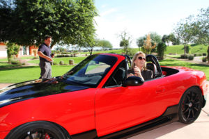Mayor Wolcott test drives the e-Miata Roadster