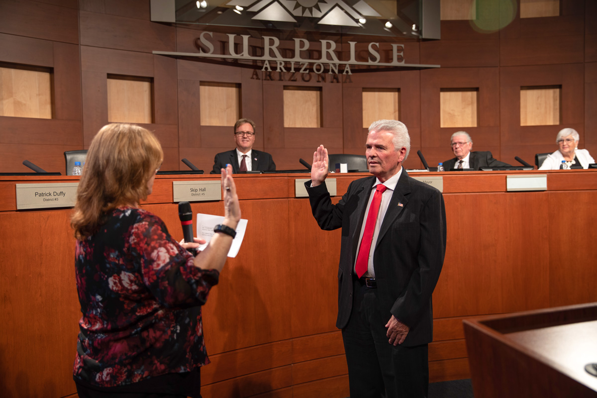 Mayor Skip Hall swearn in by City Clerk