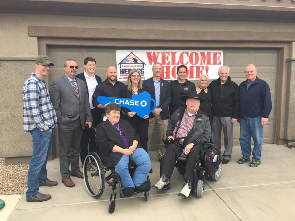 Mayor Hall and Councilmembers Judd, Sanders, Hayden and Winters pictured with Sgt. Robles and members of Building Homes for Heroes and Chase Bank