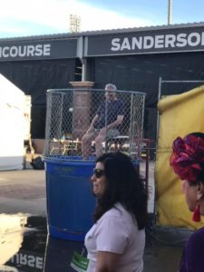 Mayor Skip Hall sitting in dunk tank.