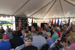 Mayor Hall speaking at Veterans Bridge Event