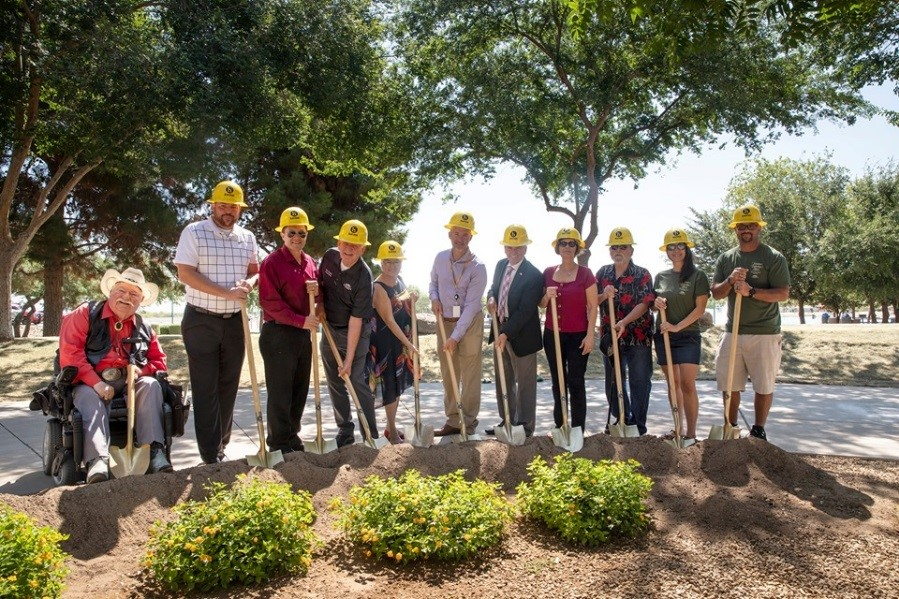 Mayor Hall and Surprise City Councilmembers break ground at the Veteran's Reflection Circle.