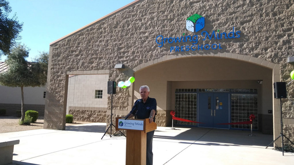 Mayor Hall speaks at the Growing Minds Preschool ribbon cutting ceremony.