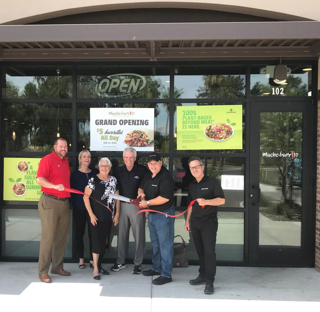 Mayor Hall and Councilmembers Hayden and Duffy attend the Mucho Burrito grand opening ribbon cutting ceremony.