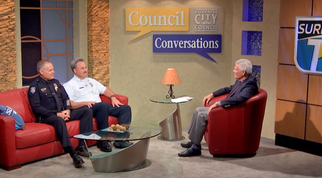 Surprise Mayor Skip hall with Police Chief Terry Young and Fire Chief Tom Abbott on set