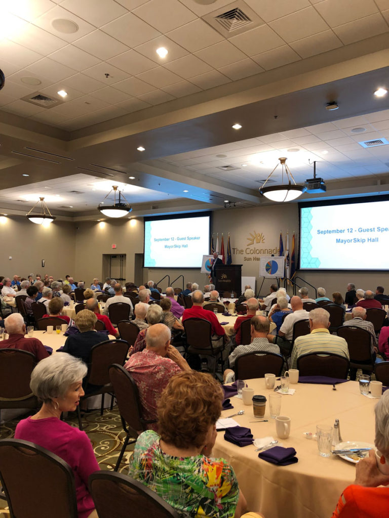 Residents of Sun Health Communities attend the monthly meeting at The Colonnade.