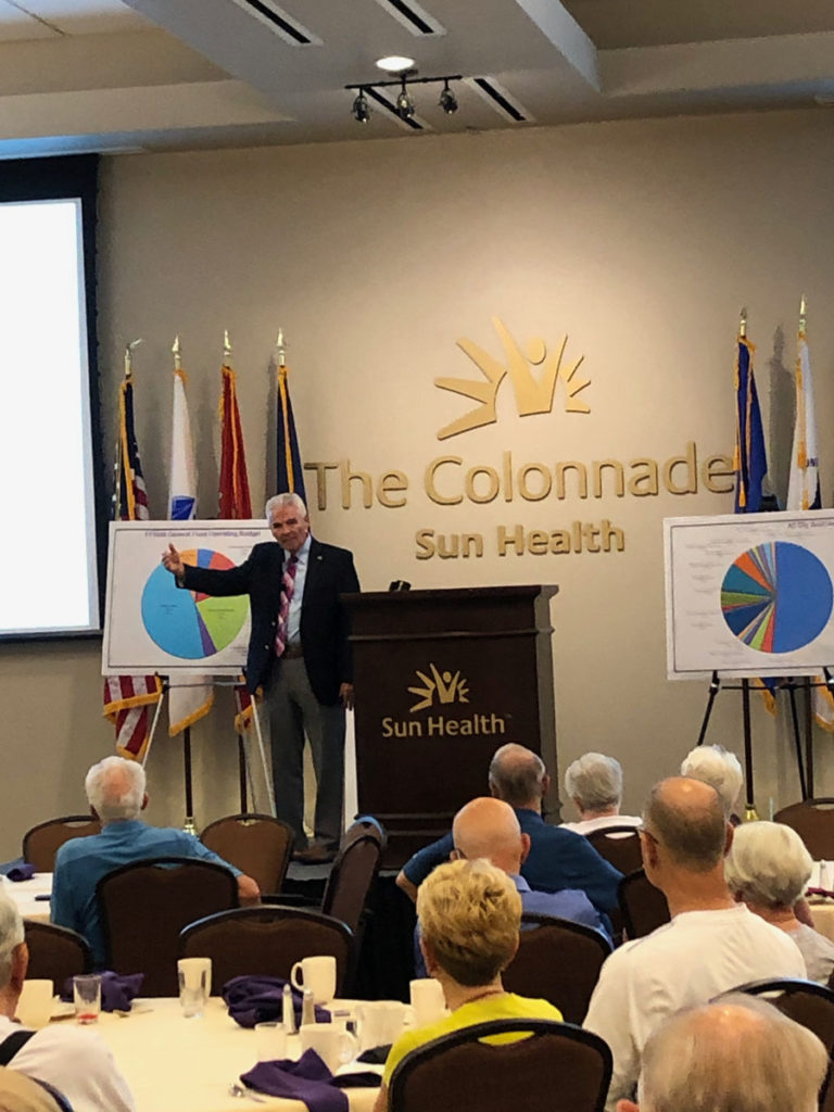 Mayor Hall speaks to residents at The Colonnade where Sun Health Communities held their monthly meeting.