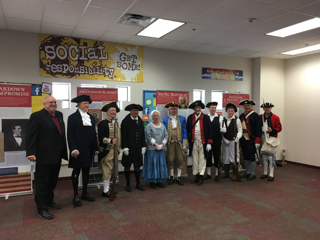 Patriotic presenters from Arizona Sons of the American Revolution, Veterans of Foreign Wars and Daughters of the American Revolution, at Canyon Ridge Elementary School's constitution day.