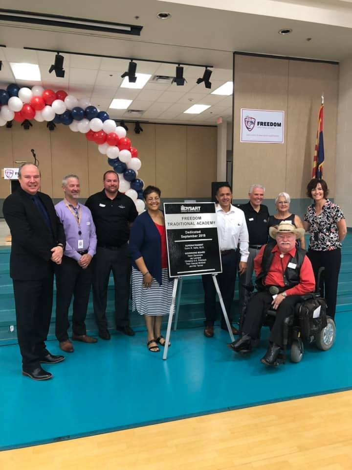 Mayor Hall and City Councilmembers at the Dysart Unified School District dedication ceremony for Freedom Traditional Academy.
