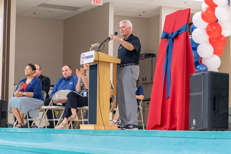 Mayor Hall speaks at the Dysart Unified School District dedication ceremony for Freedom Traditional Academy.