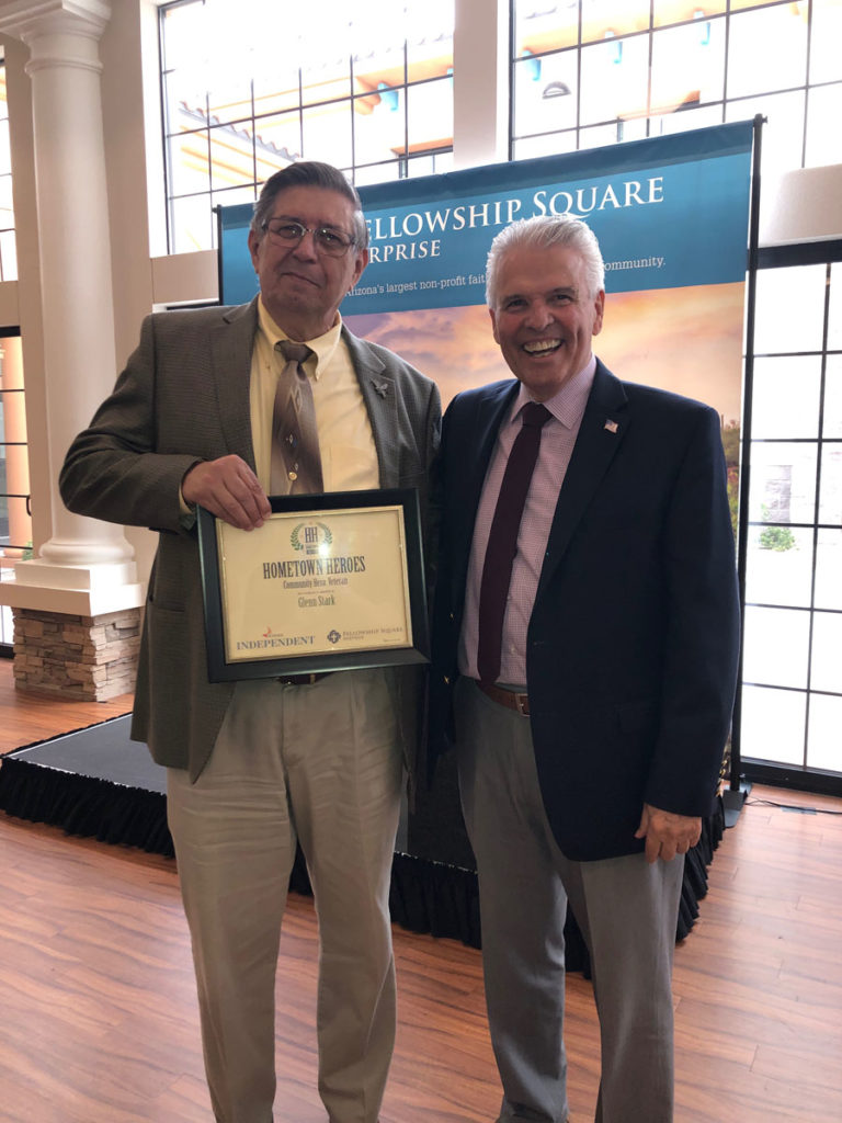 Mayor Hall with Glenn Stark, recipient of a Hometown Hero Award.