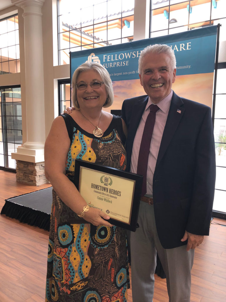 Mayor Hall with Connie Whitlock, recipient of a Hometown Hero Award.