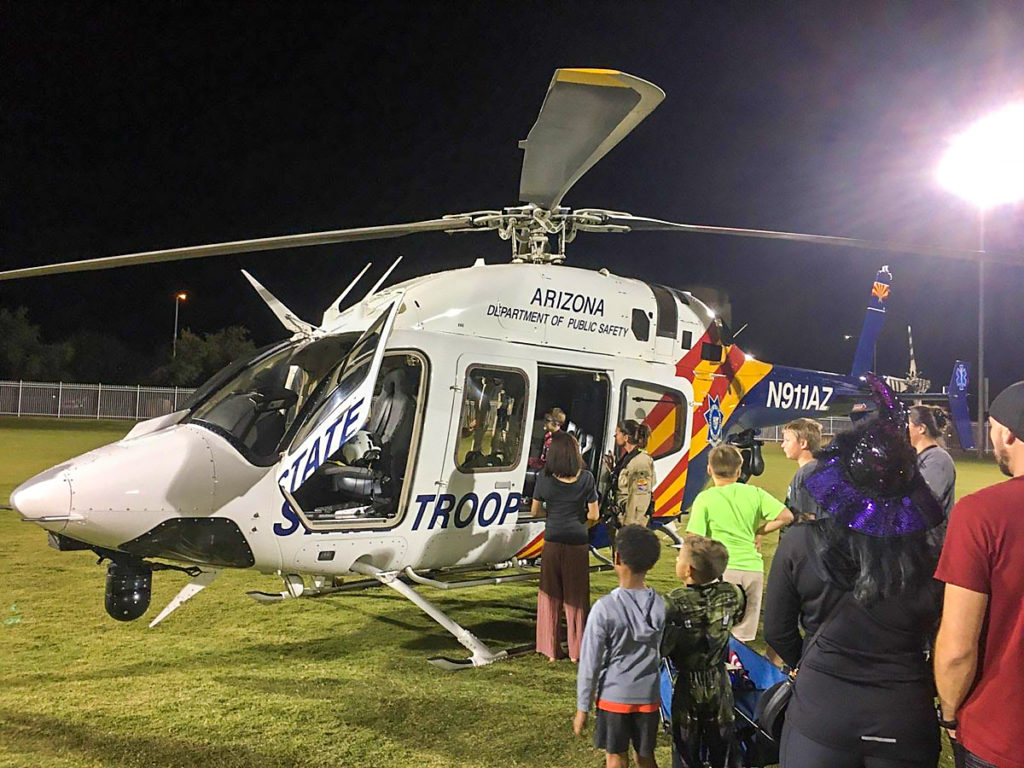 An Arizona Department of Public Safety state trooper helicopter at Surprise G.A.I.N. Night.