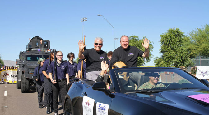 Mayor Hall alongside Superintendent Dr. Quinn Kellisin in the Valley Vista High School Annual Homecoming Parade.