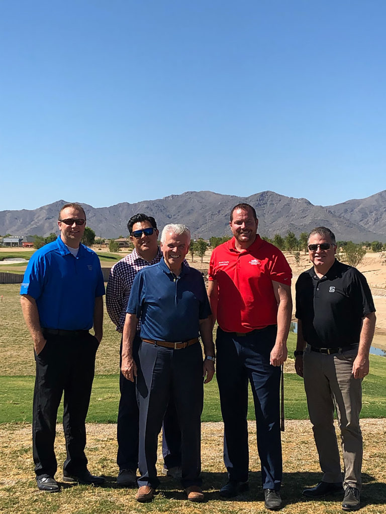 Mayor Hall, Councilmember Duffy, Aaron Insco, Dan Rhea and Devin Hobbs tour the golf course at the new Sterling Grove gated community.