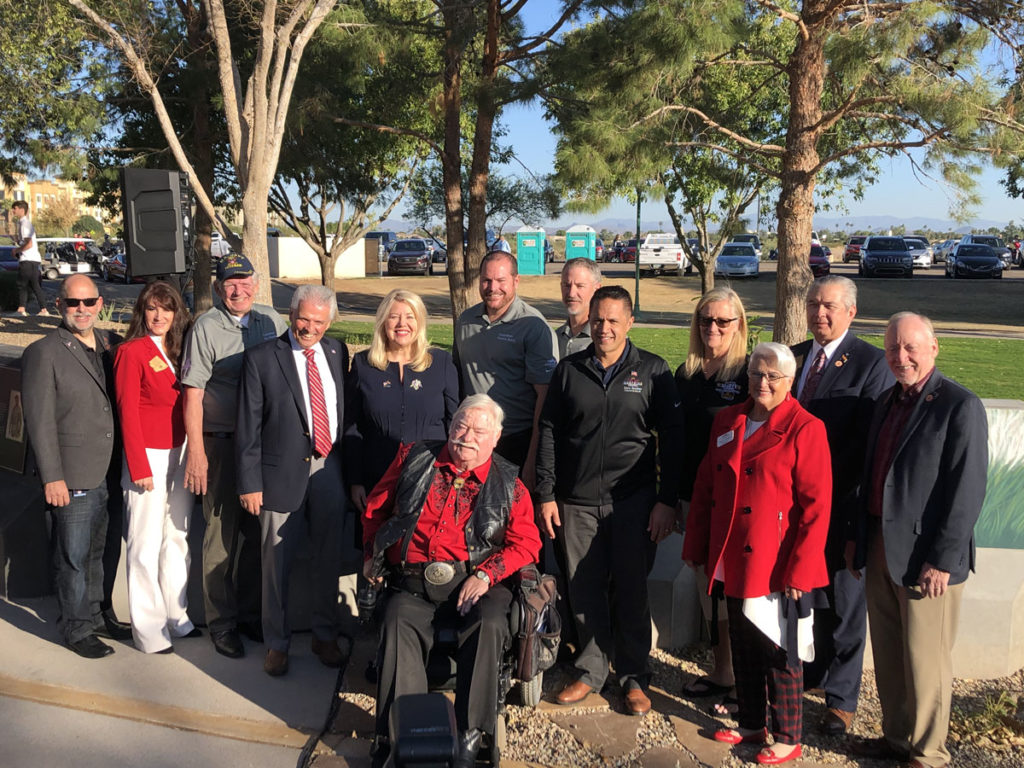 Mayor Hall, Surprise City Councilmembers, Congresswoman Debbie Lesko and others stand outside of the newly opened Veteran's Reflection Circle.