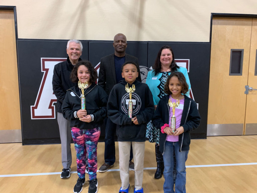 Mayor Hall and Arizona Charter Academy spelling bee winners: Jaedyn Hardy, Anais Burgher and Evalina Valencia.