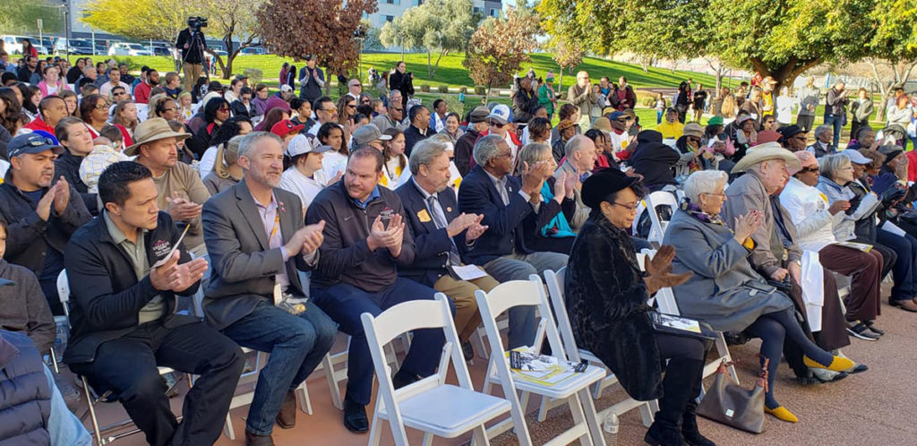 Councilmember Sanders, Vice Mayor Judd, Councilmember Duffy, Councilmember Hayden, Councilmember Winters and residents clap during the MLK event.
