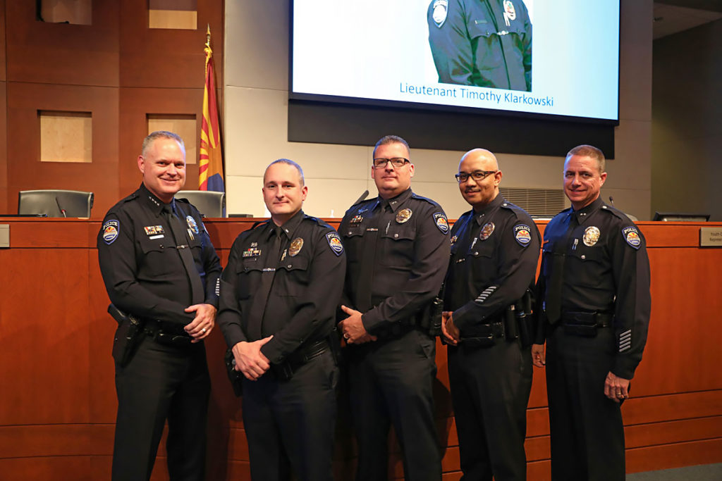 Police Chief Young, Lieutenant Timothy Klarkowski and Surprise police officers.