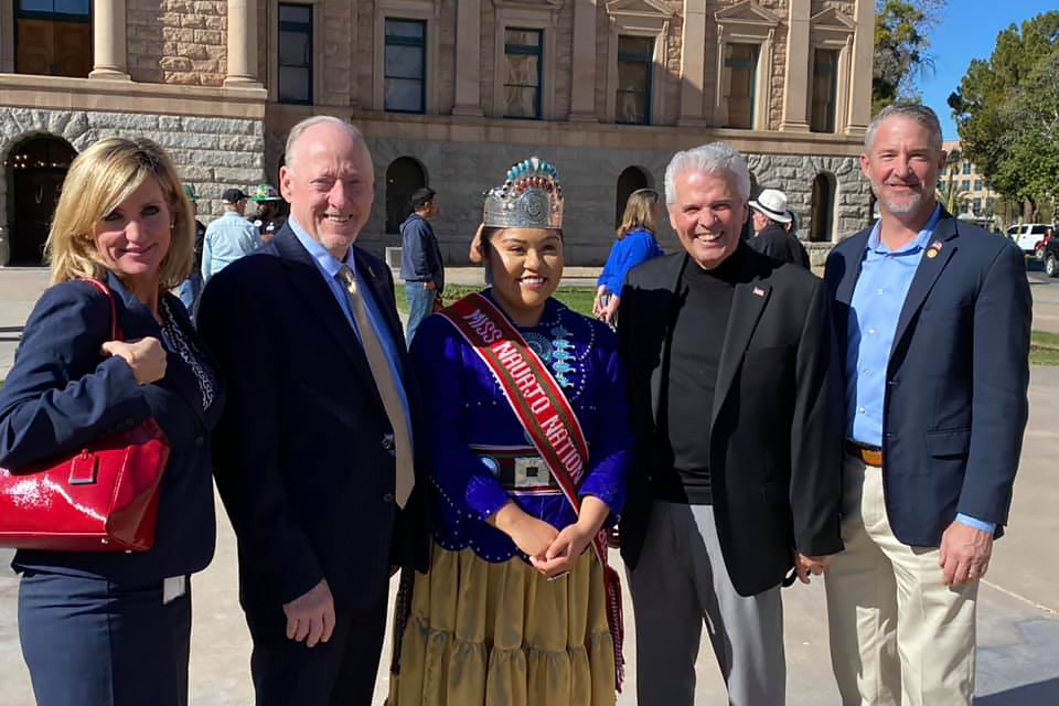 Government Relations Administrator Jodi Tas, Senator Rick Gray, Miss Navajo Nation, Mayor Skip Hall and Vice Mayor Chris Judd.