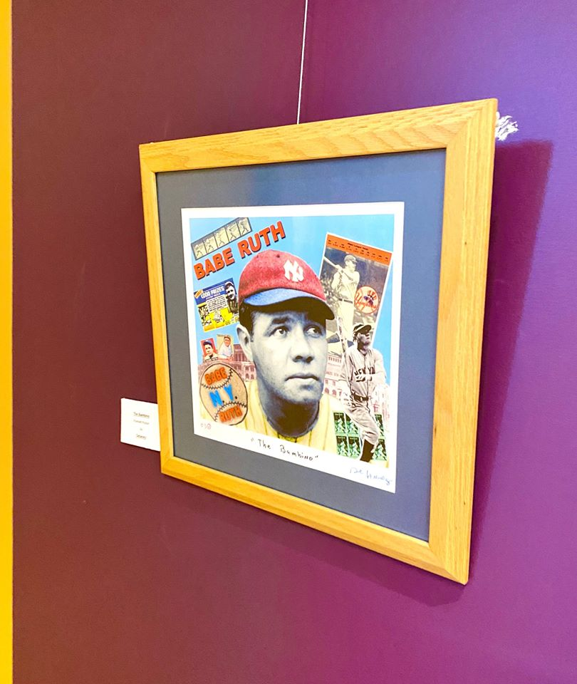Babe Ruth artwork hangs on the wall of City Hall's art walk.
