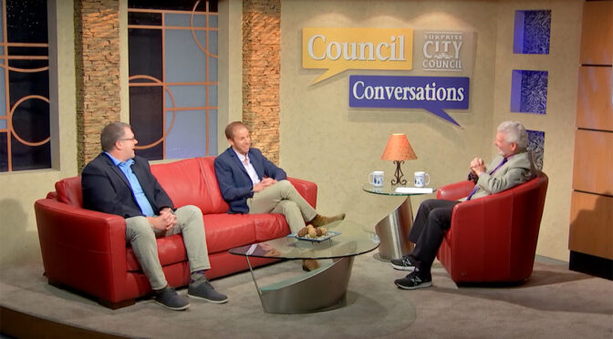 Mayor Hall speaks with guests on the set of Council Conversations.