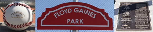 Floyd Gaines Park baseball, sign, and commemorative plaque.